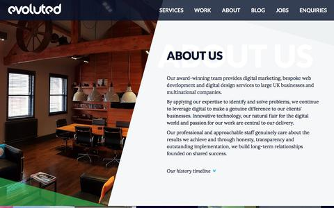 Screenshot of About Page evoluted.net - Award-Winning Digital Services In Sheffield | Choose Evoluted - captured Jan. 4, 2018