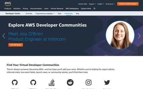 Screenshot of Developers Page amazon.com - Developer Communities | Experts, User Groups, Social | AWS - captured May 8, 2019
