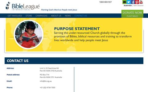 Screenshot of Contact Page bl.org.au - Contact Us - Bible League Australia - captured Nov. 22, 2016