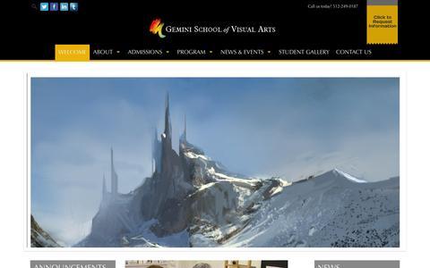 Screenshot of Home Page geminischool.com - WELCOME - Visual Art School | Gemini School of Visual Arts - Austin, TX - captured Jan. 27, 2016