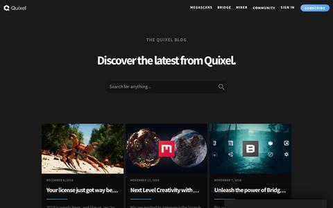 Screenshot of Blog quixel.com - Quixel Blog - captured Dec. 7, 2018