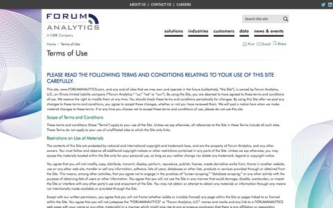 Screenshot of Terms Page forumanalytics.com - Terms of Use | Forum Analytics, LLC - captured Aug. 20, 2018