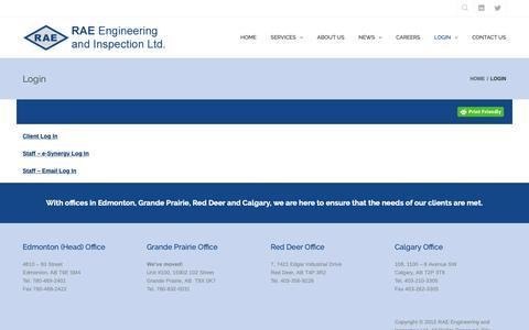 Screenshot of Login Page raeengineering.ca - Login – RAE Engineering and Inspection Ltd. - captured Oct. 19, 2018