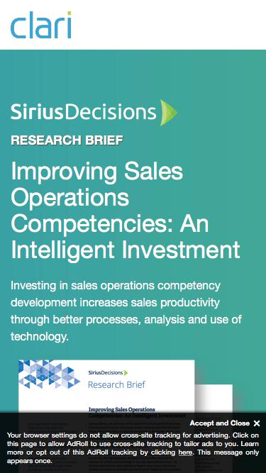 [SiriusDecisions Research Brief] Improving Sales Operations Competencies: An Intelligent Investment