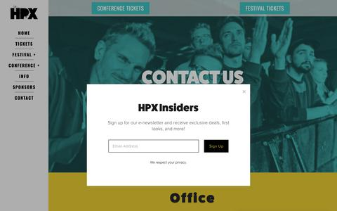 Screenshot of Contact Page halifaxpopexplosion.com - Contact — HPX - captured Sept. 26, 2018