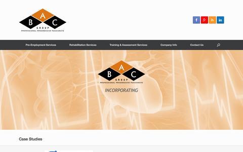 Screenshot of Case Studies Page bodyactive.com.au - Case Studies | The BAC Group - captured Nov. 23, 2016