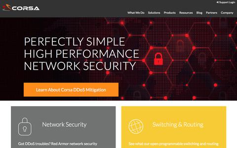 Screenshot of Home Page corsa.com - Corsa Technology: Perfectly Simple High Performance Network Security - captured Sept. 2, 2017