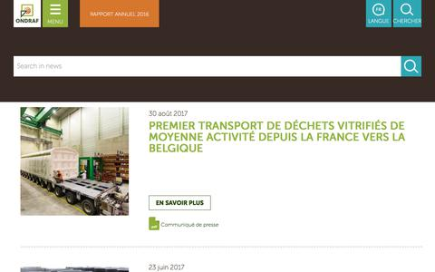 Screenshot of Press Page ondraf.be - News | ONDRAF - captured Oct. 20, 2017