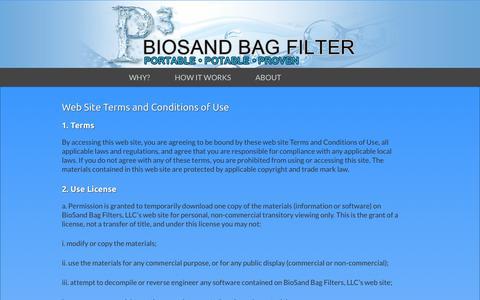 Screenshot of Terms Page biosandbag.com - Terms of Use  Biosand Bag Filter Co - captured Nov. 3, 2014
