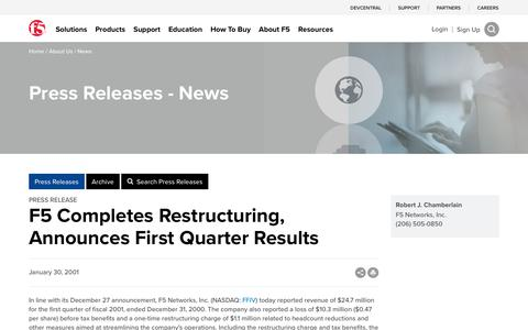 Screenshot of Press Page f5.com - F5 Completes Restructuring, Announces First Quarter Results - captured March 8, 2018