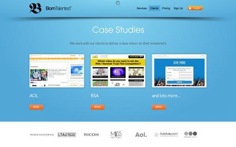 Screenshot of Case Studies Page borntalentedhq.com - Clients - captured Oct. 5, 2014