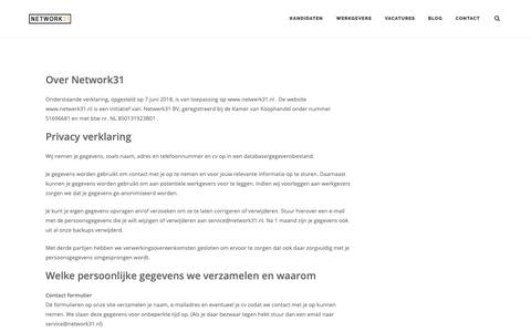 Screenshot of Privacy Page network31.nl - Privacy Policy – Network31 - captured Oct. 20, 2018