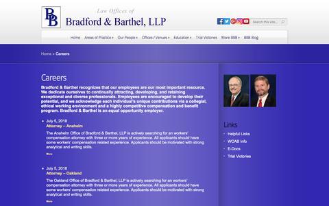 Screenshot of Jobs Page bradfordbarthel.com - Careers | Law Offices of - captured Aug. 3, 2018