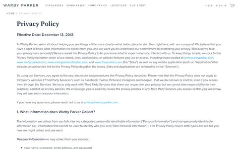 Screenshot of Privacy Page warbyparker.com - Privacy Policy | Warby Parker - captured March 9, 2017