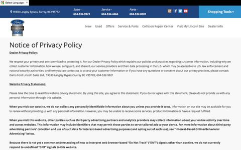 Screenshot of Privacy Page dams.net - Surrey  Privacy Policy | Dams Ford Lincoln Sales Ltd. - captured Nov. 23, 2016
