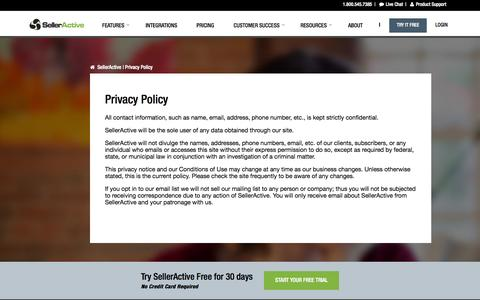 Screenshot of Privacy Page selleractive.com captured Sept. 19, 2014