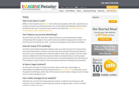 Screenshot of FAQ Page imagineretailer.com - Frequently Asked Questions | Imagine Retailer | Retail Websites - captured Oct. 6, 2014
