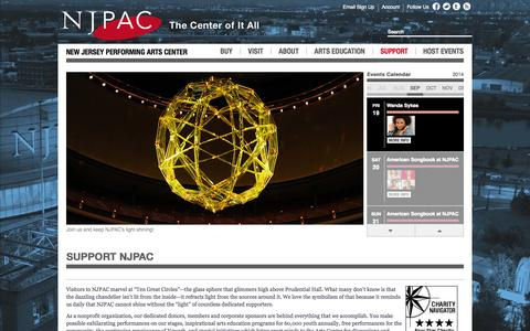 Screenshot of Support Page njpac.org - New Jersey Performing Arts Center :: Support NJPAC - captured Sept. 18, 2014