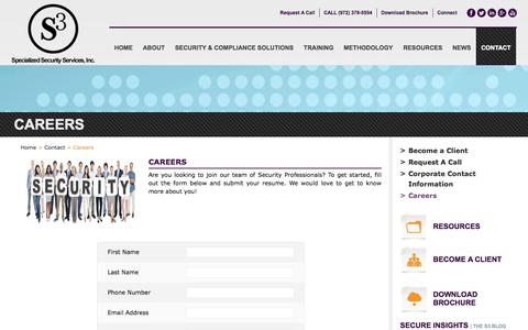 Screenshot of Jobs Page s3security.com - Careers - S3 - Specialized Security Services, Inc. - captured Oct. 6, 2014
