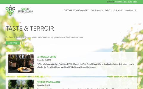 Screenshot of Blog winebc.com - Taste & Terroir   Wines of British Columbia - captured Dec. 19, 2018