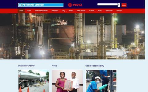 Screenshot of Home Page petrojam.com - Petrojam Limited | Serving Jamaica's Energy Needs - captured Nov. 5, 2016