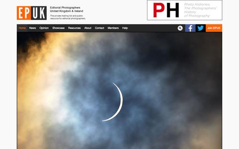 Screenshot of Home Page epuk.org - Editorial Photographers UK - Campaigning for photographers since 1999 - captured July 17, 2015
