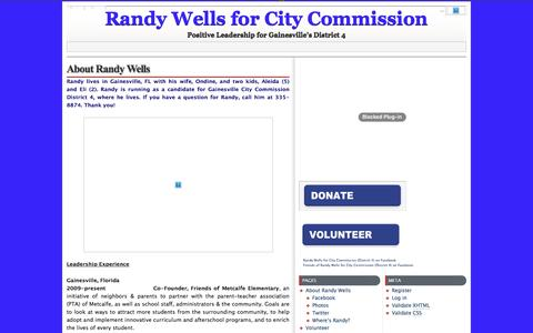 Screenshot of About Page randywells.org - About Randy Wells » Randy Wells for City Commission - Positive Leadership for Gainesville's District 4 - captured Oct. 21, 2016