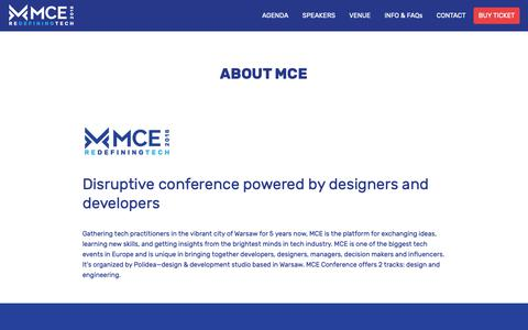 Screenshot of About Page mceconf.com - About MCE – MCE 2018 - captured Oct. 19, 2018