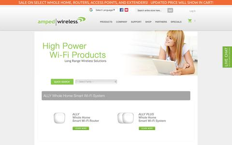 Screenshot of Products Page ampedwireless.com - Products - captured July 30, 2018