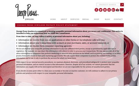 Screenshot of Privacy Page georgepress.com - George Press Jewelers Privacy Policy Statement - George Press - captured Sept. 27, 2018