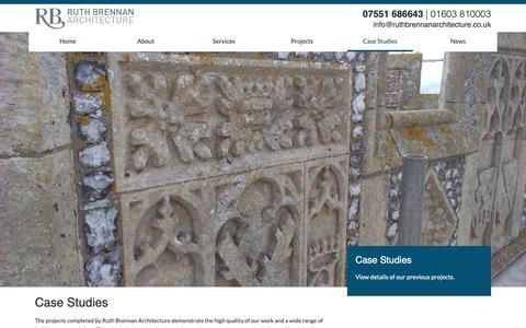 Screenshot of Case Studies Page ruthbrennanarchitecture.co.uk - Ruth Brennan Architecture | Case Studies - captured Oct. 20, 2018