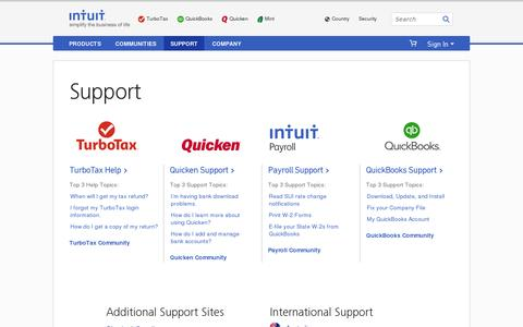 Screenshot of Support Page intuit.com - Support - Intuit - captured July 18, 2014