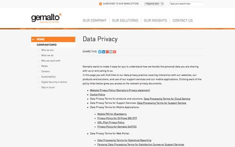 Screenshot of Privacy Page gemalto.com - Gemalto's Privacy Policy - captured Nov. 23, 2017