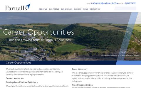 Screenshot of Jobs Page parnalls.com - Career Opportunities - Parnalls Solicitors | Cornwall & Devon Solicitor Firm - captured July 15, 2018