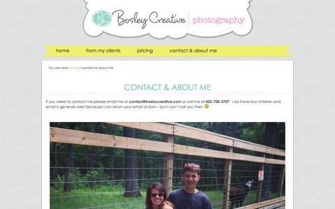 Screenshot of About Page bosleycreative.com - contact & about me - captured Jan. 7, 2016