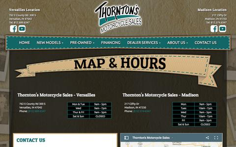 Screenshot of Contact Page Locations Page thorntoncycle.com - Map & Hours | Thornton's Motorcycle Sales | Indiana - captured July 3, 2018