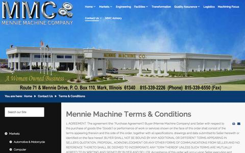Screenshot of Terms Page mennies.com - Mennie Machine Terms & Conditions - captured Oct. 29, 2014