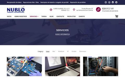 Screenshot of Services Page nublo.com - Servicios - NUBLO INFORMATICA - captured Oct. 22, 2017