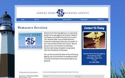 Screenshot of Services Page serenehomenursing.com - Home Care Services - captured Nov. 18, 2016