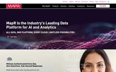 Screenshot of Home Page mapr.com - The Only Converged Data Platform | MapR - captured June 29, 2018