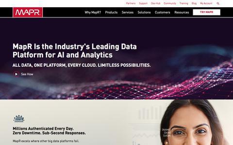 Screenshot of Home Page mapr.com - The Only Converged Data Platform | MapR - captured June 29, 2018