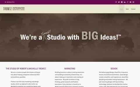 Screenshot of Home Page trontz.com - TRONTZ Integrated Marketing & Design Solutions - captured Aug. 17, 2015