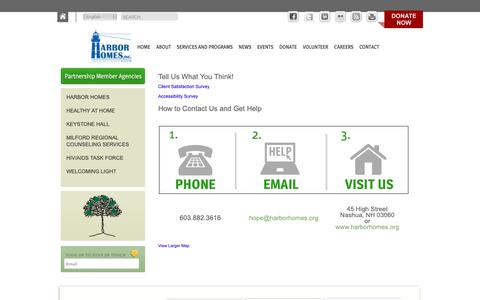 Screenshot of Contact Page harborhomes.org - Contact | Harbor Homes - captured Sept. 27, 2018