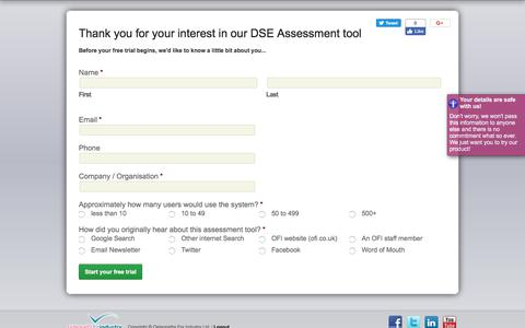 Screenshot of Trial Page ofi.co.uk - Free Trial of our Workstation DSE Assessment Tool - captured Oct. 21, 2017