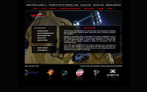 Screenshot of Services Page generalsportsalliances.com - General Sports Alliances - Naming Rights, Sales Representation, Sales Consulting, Evaluation, Negotiations - captured Sept. 29, 2014