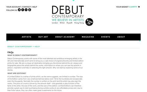 Screenshot of FAQ Page debutcontemporary.com - Debut Contemporary   FAQs - captured Aug. 1, 2016