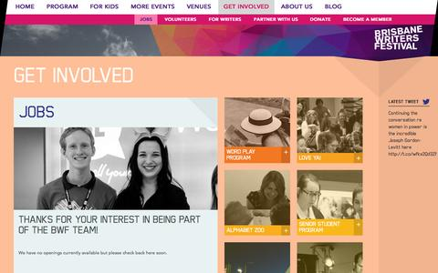 Screenshot of Jobs Page bwf.org.au - Jobs  |  Brisbane Writers Festival - captured Sept. 24, 2014