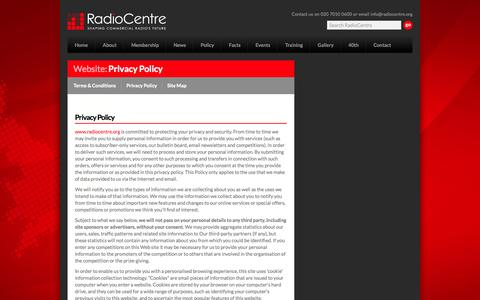 Screenshot of Privacy Page radiocentre.org - Privacy Policy - captured Oct. 27, 2014