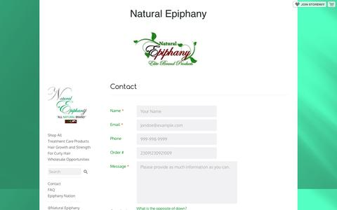 Screenshot of Contact Page storenvy.com - Contact · Natural Epiphany · Online Store Powered by Storenvy - captured Dec. 3, 2016