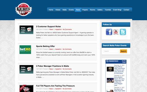 Screenshot of Press Page maltapokerevents.com - News - Malta Poker Events - captured Dec. 21, 2015